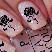 Free Shipping - Gothic BLACK ROSES Nail Art (RSB)  Waterslide Transfer Decals - Not Stickers or Vinyl