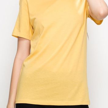 Sam Curve Cotton Modal Tee in Mustard
