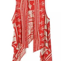 Red Tribal Print Knitted Sleeveless Top