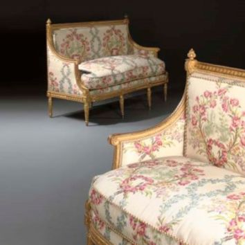 A PAIR OF LOUIS XVI GILTWOOD CANAPES , EACH STAMPED 'G. IACOB', CIRCA 1785