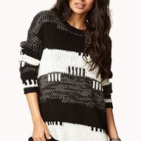 FOREVER 21 Striped Cable Knit Boyfriend Sweater Black/White