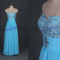 2014 long blue chiffon prom dresses with sequins,chic sweetheart corset back gowns for party,cheap homecoming dress under 150.