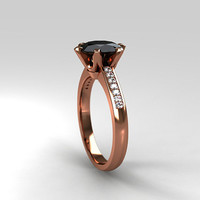 Black Spinel ring, rose gold, engagement ring, spinel, black engagement, solitaire, diamond ring, diamond engagement, thin, wedding ring