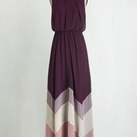 Colorblocking Long Sleeveless Maxi Romantic Resplendence Dress in Purple