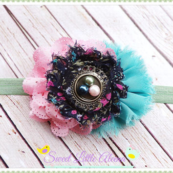 Baby Headband Big, Flower Vintage Style Headband, Pink Teal Navy Hairband, Girls Hair Bows, Newborn Photo Prop, Elegant Pearls Headband