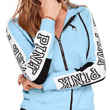 Victoria's Secret Pink Fashion Zipper Hooded long sleeved sweater stitching and female sky blue G