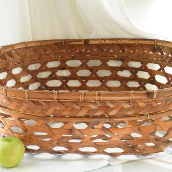 Huge  Woven Primitive Basket , Hand Made Splint Woven Basket