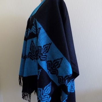 Black Cape,Tribal Poncho Outerwear , black blue Coat Women Clothing Fashion Accessories Women Wear Aztec Poncho Ethnic Poncho Tribal Poncho