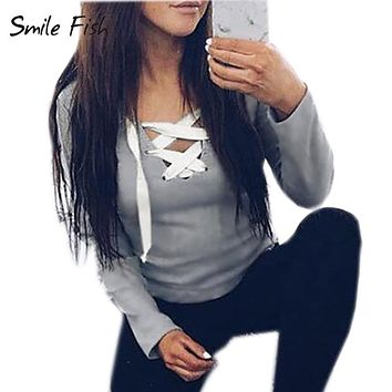 Spring Autumn Women Long Sleeve V-neck Lace Up Hoodies Sweatshirts Bandage Pullover Shirts Casual Sexy Tops GV371