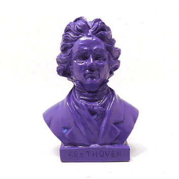 beethoven, head bust, painted figurine, vintage, composer, purple, funky decor, dorm room, music, historical statue, upcycled figurine