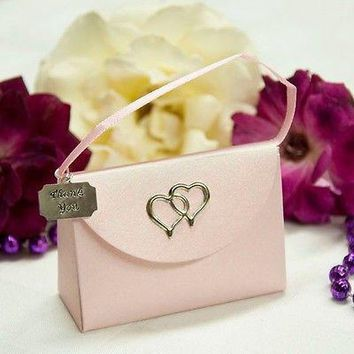 20 Pink Purse Favor Boxes with Thank You Charm with Hearts
