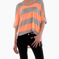 Oversized Racerback Top in Neon Orange
