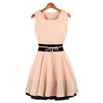 Pink Sleeveless Zippered Flounce Dress
