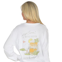 Tea Time Long Sleeve Tee in White by Lauren James