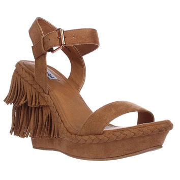 Not Rated Roaring Ruby Fringe Braided Wedge Sandals, Nude, 6.5 US / 37.5 EU