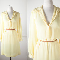 Sheer Yellow Dress | Vintage 80s Secretary Dress Pale Yellow 80s Dress Day Dress Chiffon Romantic Summer Dress Cute Retro Dress Minimalist