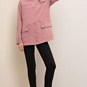 Dark Mauve Soft Suede Military Jacket
