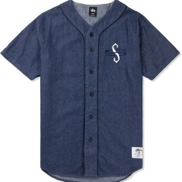 Stussy Light Blue Denim Baseball Shirt | HYPEBEAST Store.