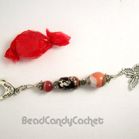 Bag Charm / Zipper Pull, Bookmark, OOAK Lampwork Beads with Butterfly Charm Artisan Jewelry