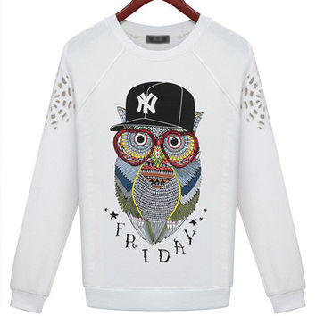 White Owl Pattern Print Fleece Sweatshirt