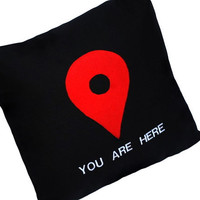 You Are Here Map Pin Black Pillow by YellowBugBoutique on Etsy