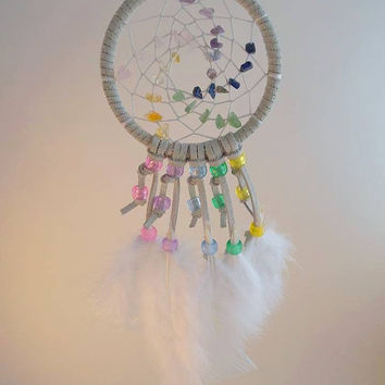 Rainbow Gemstone dream catcher- small. white dream catcher