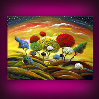 dancing lollipop tree painting large fun whimsical by mattsart