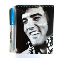 ELVIS PRESLEY notebook Free. UK Postage with 70 plain rainbow pages unique retro gift for the king of rock & roll music fan