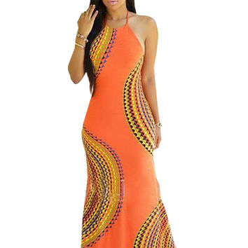 Orange Pattern Halter Spaghetti Strap with Open Hollow Back Out Maxi Beach Dress