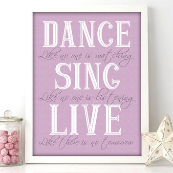 Nursery Art Prints | Girls Purple and Gray Dance Quote Art 8x10 Print - wall art - little girls nursery bedroom (109)