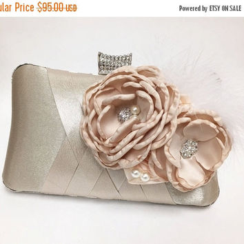 Wedding clutch, Bridal clutch, Champagne clutch, evening bag, Modern clutch, flower feather bridesmaid bag, crystal clutch, evening clutch