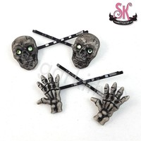 Set of Skull & Skeleton Hand Bobby Pin Hair Clips
