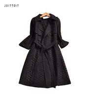 Women Spring Trench Coat 2017 Fashion Office Ladies Hollow Out Lace Trench Coat Women Plus Size White Black Long Trench Coat