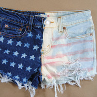 american flag shorts / bleach tie dye shorts / shredded shorts / red white blue / small / medium s/m