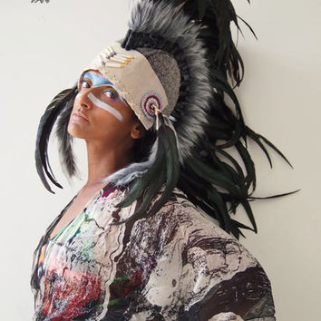 Mohawk Black Feather Headdress, Cream Leather
