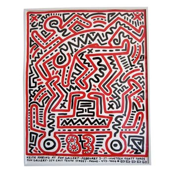 Pre-owned Signed Keith Haring Fun Exhibition Poster, 1983