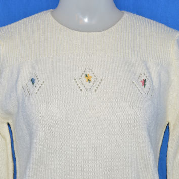 80s Flowered Off-White Sweater Women's Medium