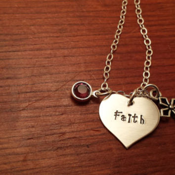 Personalized heart shaped necklace Hand stamped