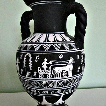 SALE! Fantastic Black and White Greek Vase Two Handles, Hand Painted, Amphora shape vase, ROMAN Vase,Home Decor, Table Decor, Greece