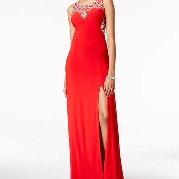 Crystal Doll Juniors' Jeweled Illusion Side-Slit Gown