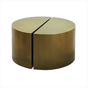 Worlds Away Webster Antique Brass Semi Circle Pair Coffee Table