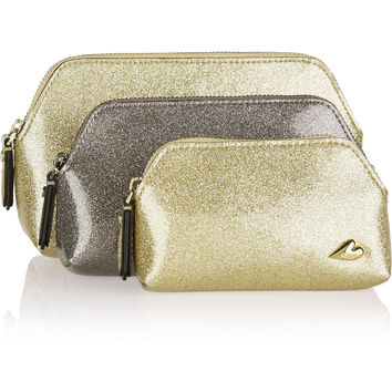 Diane von Furstenberg - Love set of three glittered PVC pouches