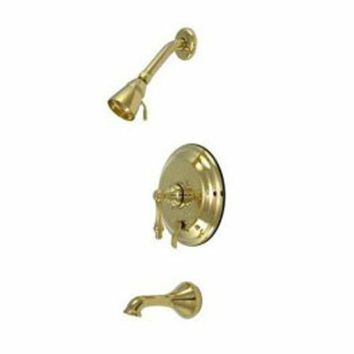 CREYONV elements of design eb36320al new orleans polished brass pressure balanced tub and shower faucet with metal lever