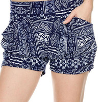 Breakfast at Tiffanys Navy Blue & White Soft Harem Pocket Shorts