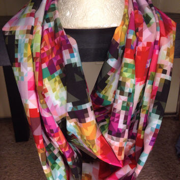 Kaleidoscope infinity scarf-scarf-infinity scarf-multi color scarf-birthday gift-fall scarf-silk like scarf-accessories-women's scarf