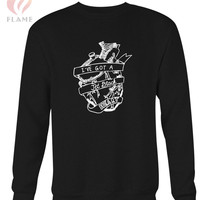 5 Seconds Of Summer Jet Black Heart Logo Long Sweater