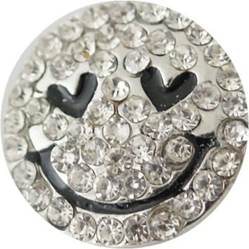 Snap Charm Smiley Face Rhinestones 20mm