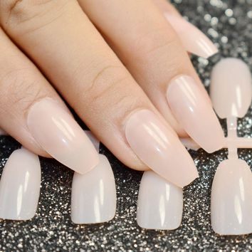 24pcs Natural Nude Coffin Nails False Nail Full Cover Flat Shape Acrylic Nail Tips Artificial Nails Fake Nails Fuax Ongles
