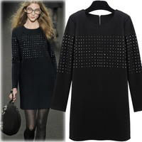 Women Loose Long Sleeve One Piece Dress a12901
