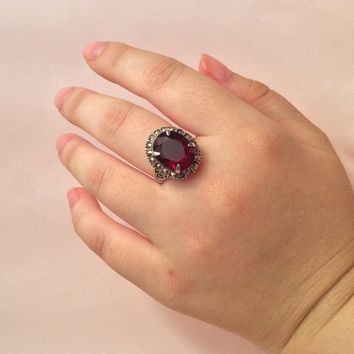 Genuine Garnet Ring with Marcasite